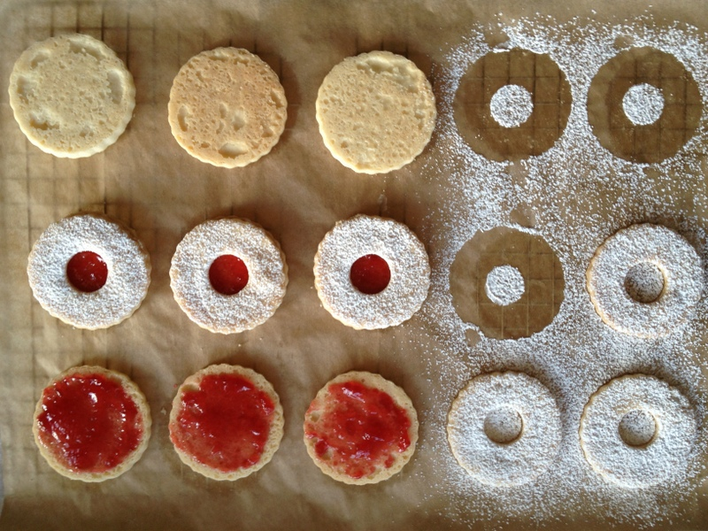 Linzer cookie stages
