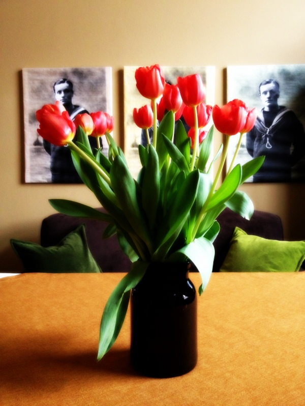 Tulips on the dinner table