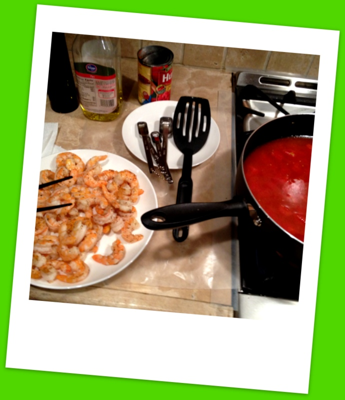 Process underway, trying not to sample too many tasty, cooked shrimp.