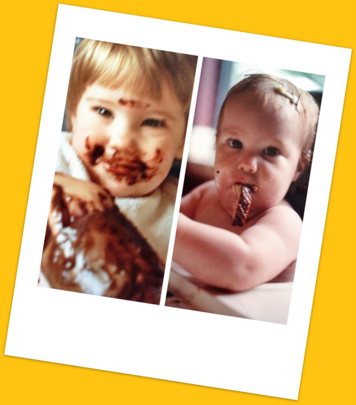 First born and Last born, smearing food before it ever was a trend. Acceptable and adorable.