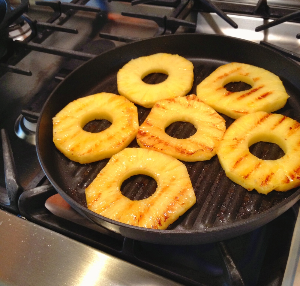 Getting grill marks on the pineapple rings